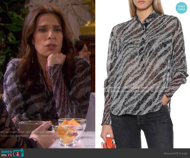 Maris Zebra-Print Blouse by Rag & Bone worn by Hope Williams (Kristian Alfonso) on Days of our Lives