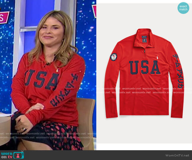 Team USA One-Year-Out Mesh Pullover by Ralph Lauren worn by Jenna Bush Hager  on Today