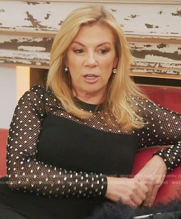 Ramona's black studded sheath dress on The Real Housewives of New York City