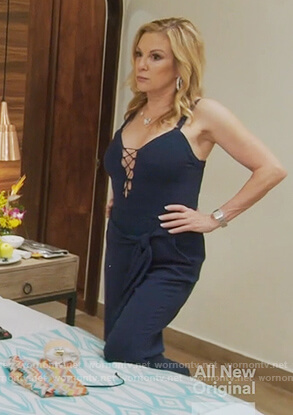 Ramona's blue lace up jumpsuit on The Real Housewives of New York City