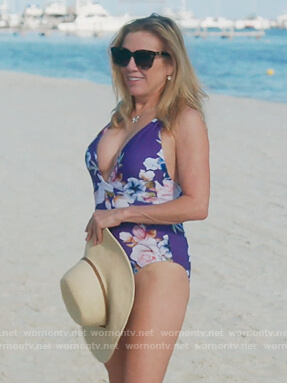 Ramona's blue floral swimsuit on The Real Housewives of New York City