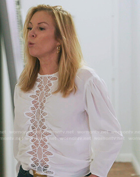Ramona's white lace inset blouse on The Real Housewives of New York City
