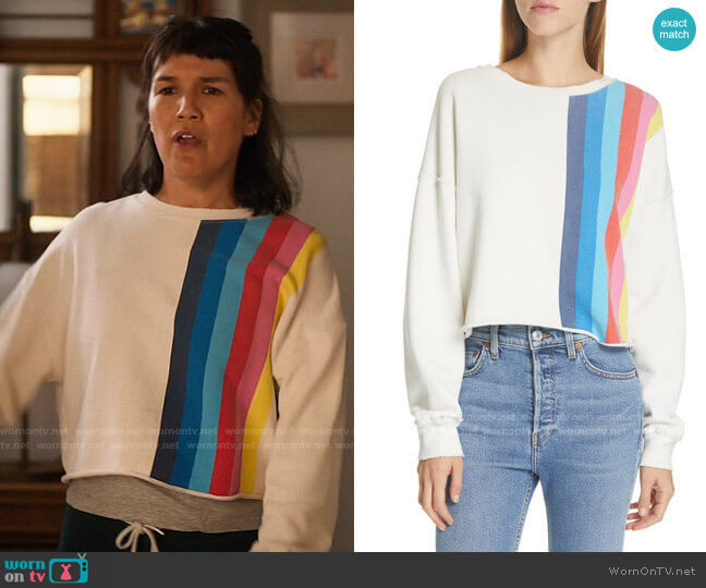 Re/Done Stripe Raw Sweatshirt worn by Katie (Zoe Chao) on The High Note