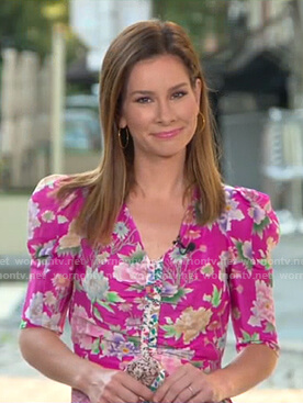Rebecca's pink floral top on Good Morning America