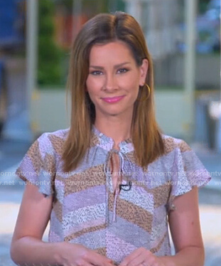 Rebecca's print tie neck flutter sleeve top on Good Morning America