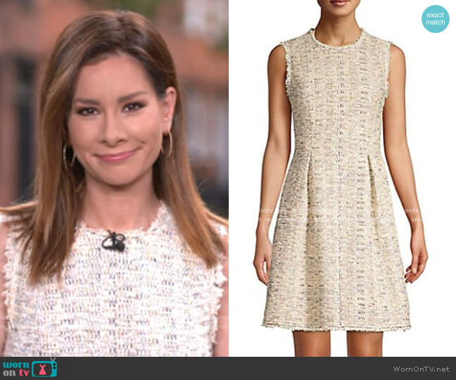 Rainbow Tweed Sleeveless Dress by Rebecca Taylor worn by Rebecca Jarvis  on Good Morning America