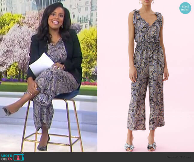 Selene Paisley Silk Jumpsuit by Rebecca Taylor worn by Sheinelle Jones  on Today