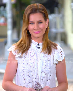 Rebecca's white eyelet top on Good Morning America