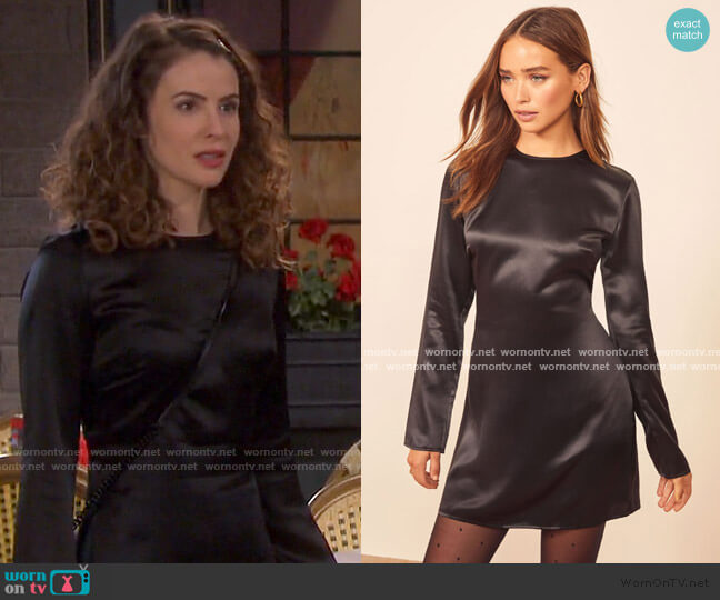 Bernadette Dress by Reformation worn by Sarah Horton (Linsey Godfrey) on Days of our Lives