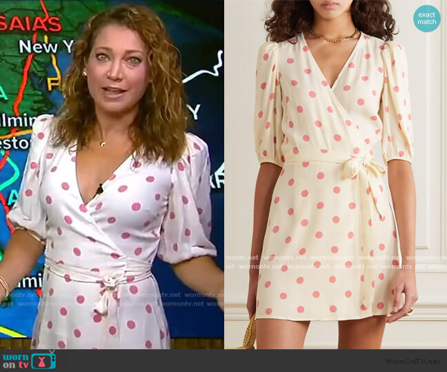 Olince Puff Sleeve Wrap Minidress by Reformation worn by Ginger Zee  on Good Morning America