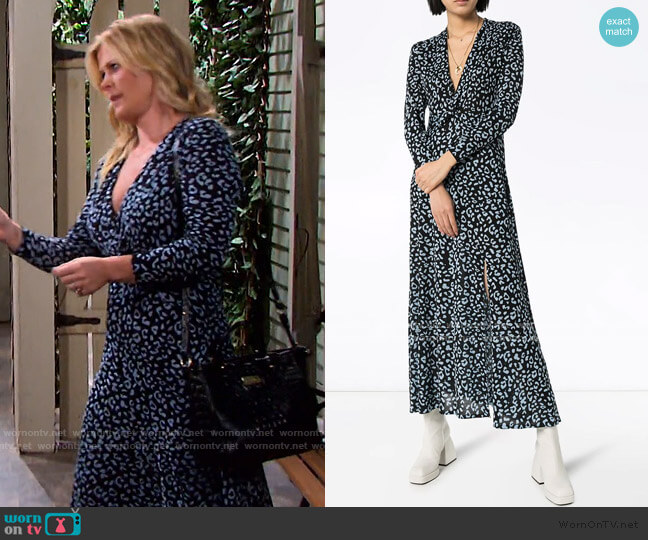 Anja Leopard Print Maxi Dress by Rixo worn by Sami Brady (Alison Sweeney) on Days of our Lives