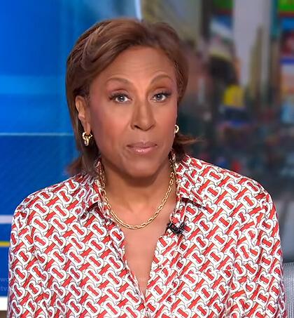 Robin's orange and white print blouse on Good Morning America