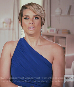 Robyn's blue one shoulder dress on The Real Housewives of Potomac