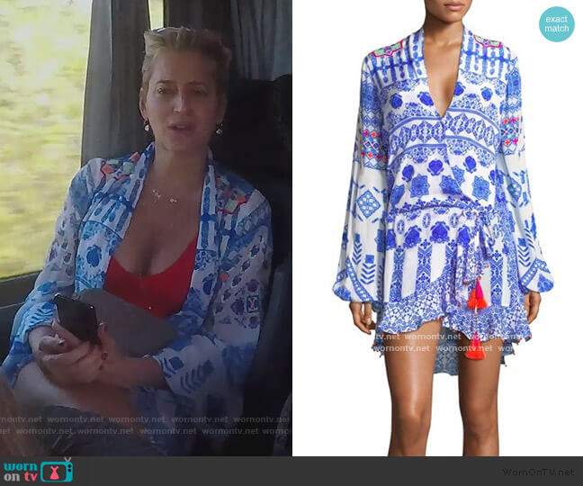 Printed V-neck Tassel dress by Rococo Sand worn by Dorinda Medley  on The Real Housewives of New York City