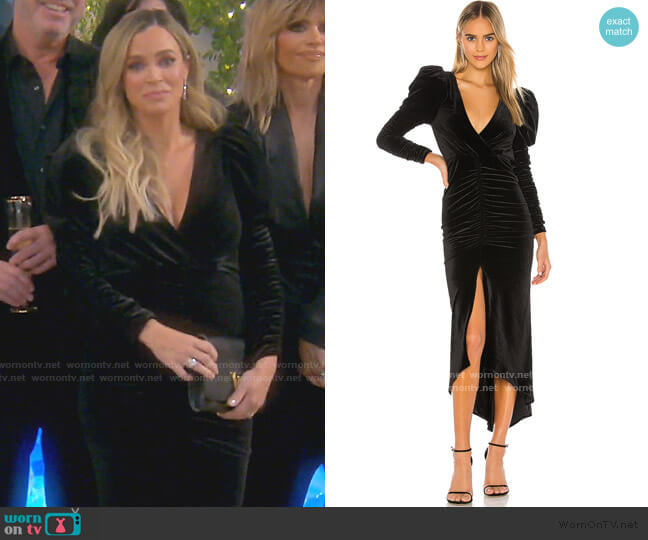 Alicia Velvet Dress by Ronny Kobo worn by Teddi Mellencamp Arroyave  on The Real Housewives of Beverly Hills