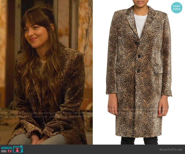 Saint Laurent Mini Leopard Print Velvet Coat worn by Maggie Sherwoode (Dakota Johnson) on The High Note