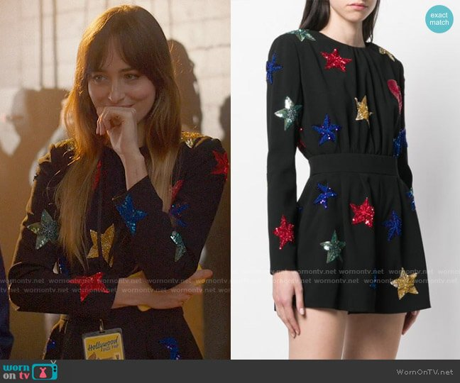Saint Laurent Embroidered Stars Jumpsuit worn by Maggie Sherwoode (Dakota Johnson) on The High Note