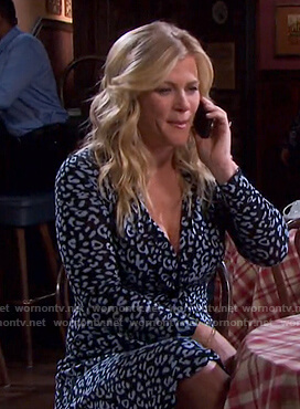 Sami's black and blue leopard print dress on Days of our Lives
