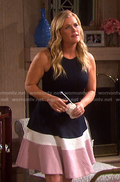 Sami's colorblock fit and flare dress on Days of our Lives