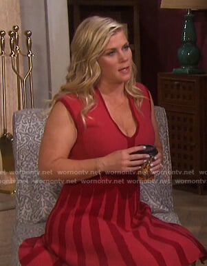 Sami's red v-neck sleeveless dress on Days of our Lives
