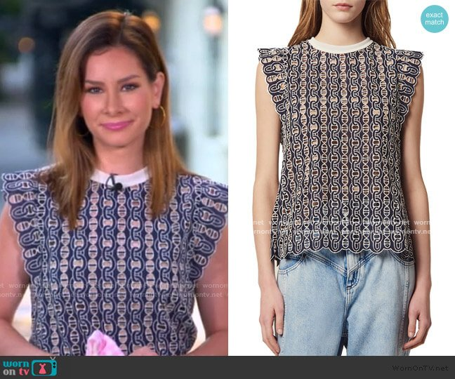 Gill Broderie Anglaise Blouse by Sandro worn by Rebecca Jarvis  on Good Morning America