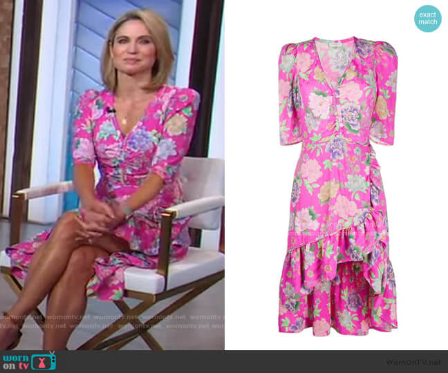 Leoni Floral Print Dress by Sandro worn by Amy Robach  on Good Morning America