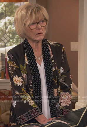 Sandy's black floral kimono on United We Fall