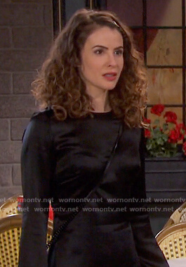 Sarah's black long sleeve satin dress on Days of our Lives