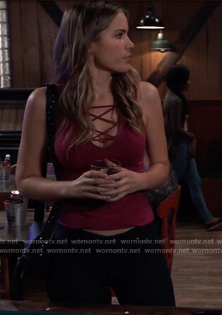 Sasha's red lace-up top on General Hospital