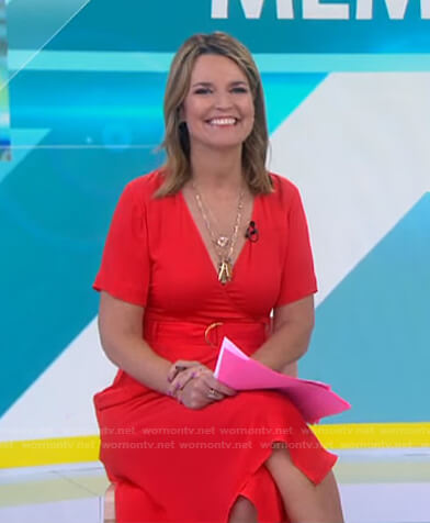 Savannah's red belted midi dress on Today