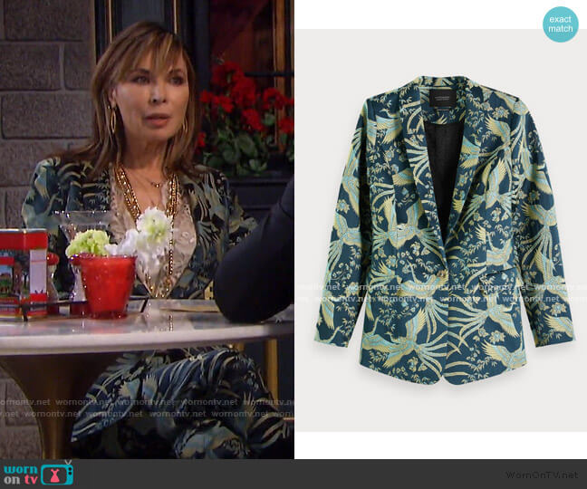 Jacquard Blazer by Scotch & Soda worn by Kate Roberts (Lauren Koslow) on Days of our Lives