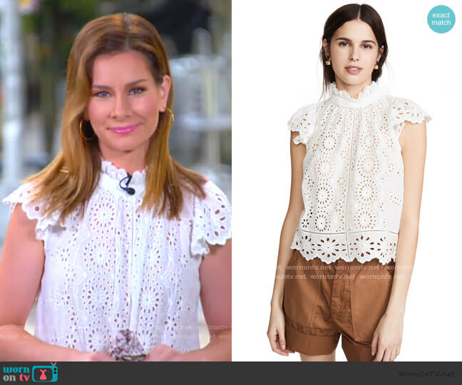 Daisy Flutter Sleeve Top by Sea worn by Rebecca Jarvis  on Good Morning America