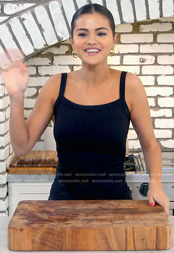 Selena Gomez's black square neck tank top on Selena + Chef