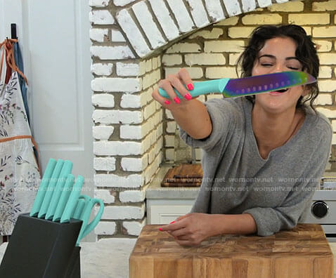Selena Gomez's turquoise knife set on Selena + Chef