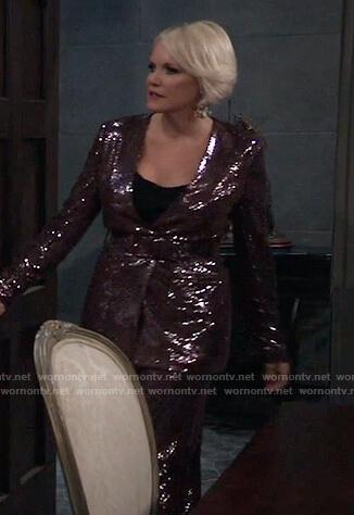 Ava's belted sequin jacket on General Hospital