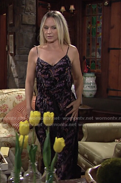 Sharon's black floral print jumpsuit on The Young and the Restless