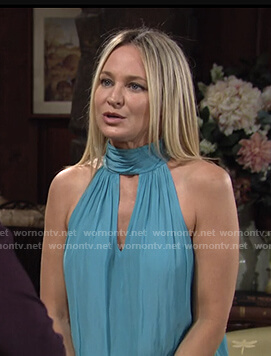 Sharon's blue keyhole halter top on The Young and the Restless