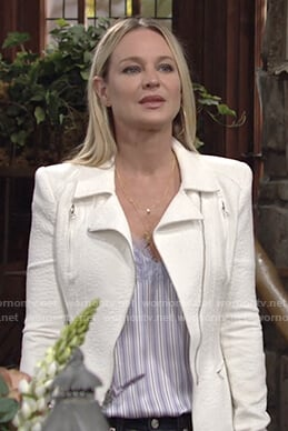 Sharon's blue striped top and white moto jacket on The Young and the Restless