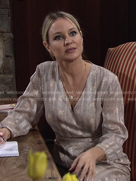 Sharon's printed wrap dress on The Young and the Restless