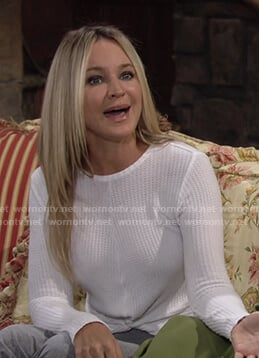 Sharon's white twist hem waffle top on The Young and the Restless