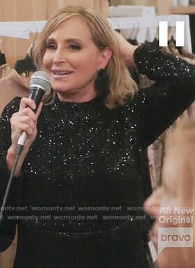 Sonja's black sequin maxi dress on The Real Housewives of New York City