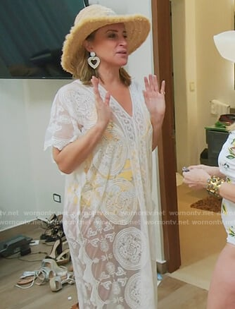 Sonja's floral bikini and lace coverup on The Real Housewives of New York City