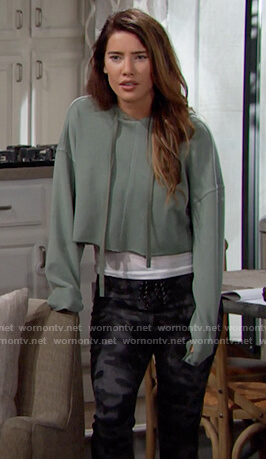 Steffy's green cropped sweatshirt on The Bold and the Beautiful