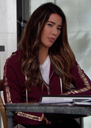 Steffy's purple metallic stripe hoodie and pants on The Bold and the Beautiful