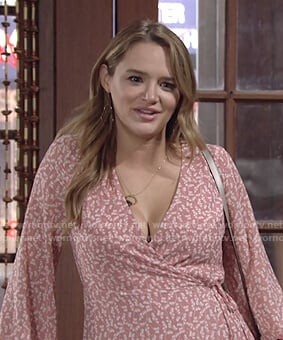 Summer's pink floral wrap dress on The Young and the Restless