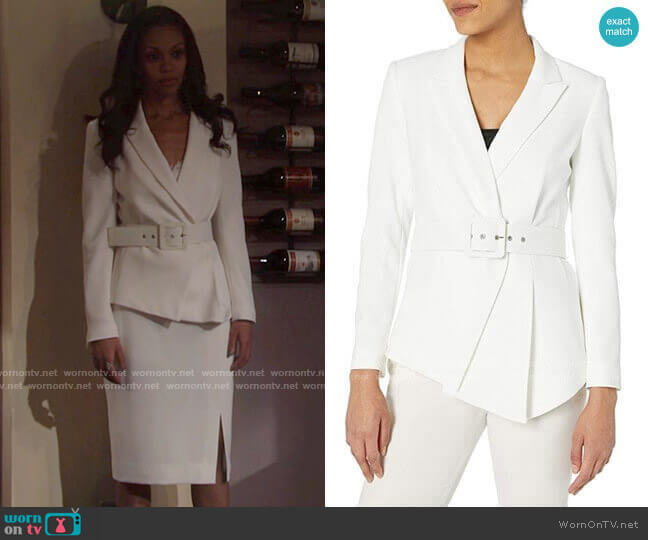 Belted Asymmetrical Crepe Blazer by Tahari ASL worn by Amanda Sinclair (Mishael Morgan) on The Young & the Restless