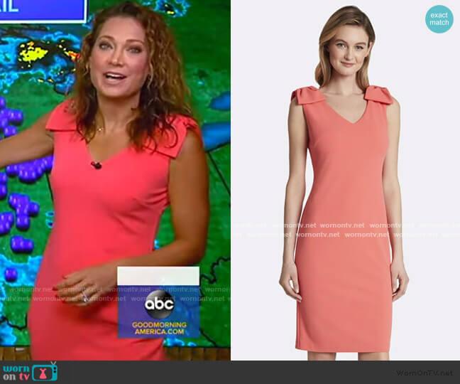 Crepe Bow-Shoulder Sheath Dress by Tahari ASL worn by Ginger Zee  on Good Morning America