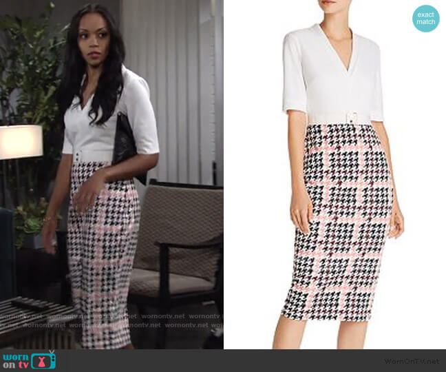 Harlla Houndstooth Combo Bodycon Dres by Ted Baker worn by Amanda Sinclair (Mishael Morgan) on The Young & the Restless