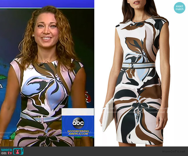 Liziiey Masquerade Print Bodycon Dress by Ted Baker worn by Ginger Zee  on Good Morning America