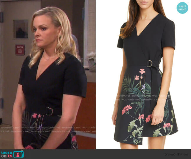 Mizalia Highland Faux Wrap Dress by Ted Baker worn by Belle Brady (Martha Madison) on Days of our Lives